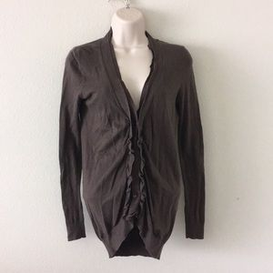 Ann Taylor loft brown purple ruffled cardigan